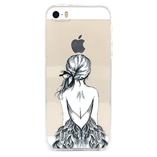 iPhone 4 4S Coque , YIGA Noir Blanc Sexy Femme Transparent 3D Crystal TPU Silicone Doux TPU Case Cover Housse Etui pour Apple iPhone 4 / iPhone 4S