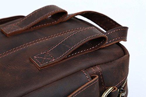 YiJee Herren Echtleder Taktisch Fanny Packs Brustweite Klein Gürteltasche Single Schulter Tasche Tote Handtasche Dunkel Braun (14cm*8cm*18cm)