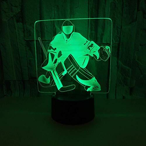 WARMNL Ice Hockey 3D Nachtlicht Buntes USB 3D Visuelles Licht LED Ambient Art Kleine Tischlampe