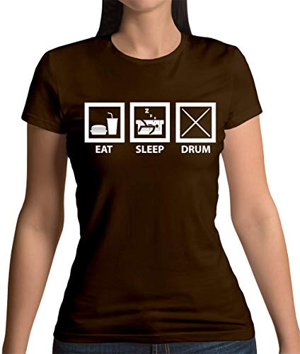 Eat Sleep Drum (Schlagzeug) - Damen T-Shirt - Dunkles Schokobraun - XL - Trommeln Dunklen T-shirt