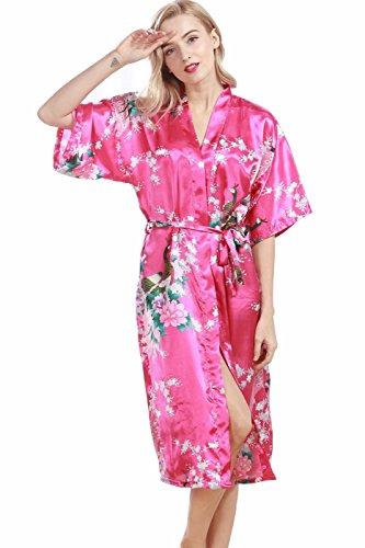 VERNASSA Damen Pfau Robes Silk Satin Flora Lange Nachtwäsche, Batwing Ärmel Kimono Nachthemd, Pyjamas Lingerie Dessous set für Hochzeitsfeier Geschenk, Übergröße & Mehrfarbig (Damen-lang-spa-robe)
