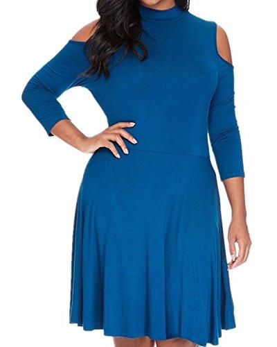 ZANZEA Femme Sexy Élégante Épaule Col Hauts Tunique Manches Longues Robe de Soirée Bleu