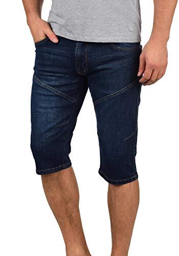 Indicode Quentino Herren Capri Jeans Shorts Kurze Denim Hose Aus Stretch-Material Regular Fit, Größe:L, Farbe:Dark Blue (855) -