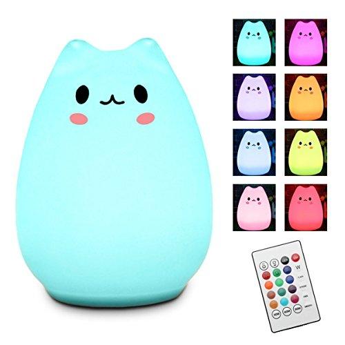 Nachtlicht Kinder, Elfeland Nachttischlampe Nachtleuchte LED Schlummerleuchte Katzenform ( 13 Farbmöglichkeiten, 6 Lichtmodi, Dimmbar, Sicheres ABS& Silikon, Praktische USB-Ladeoption ) - Wen