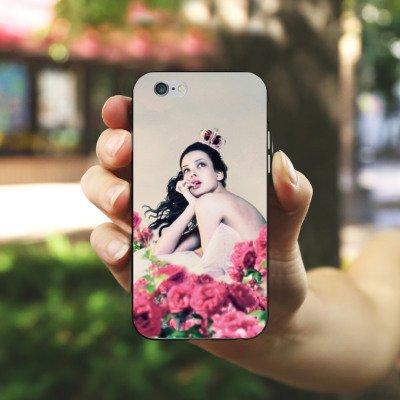 Apple iPhone 5s Housse Étui Protection Coque Princesse Roses Roses Housse en silicone noir / blanc