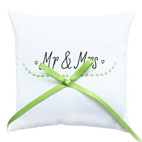 """Ringkissen """"Natural Romance"""" - schönes Ringkissen zur Hochzeit in Weiß - Grün mit """"Mr & Mrs"""" Stickerei"""