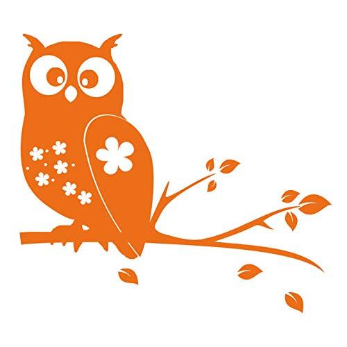 kleb-Drauf® | 1 Eule auf AST | Orange - glänzend | Wandtattoo Wandaufkleber Wandsticker Aufkleber Sticker | Wohnzimmer Schlafzimmer Kinderzimmer Küche Bad | Deko Wände Glas Fenster Tür Fliese - Laptop Baum Decal