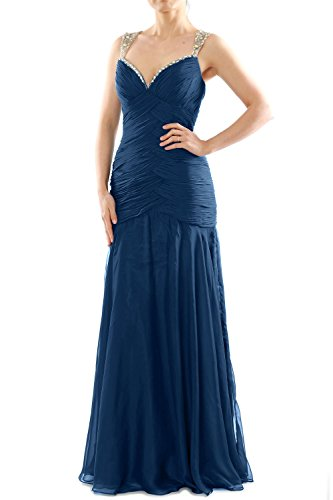 MACloth Women Mermaid Sleeveless Chiffon Long Prom Dress Evening Formal Gown Dunkelmarine