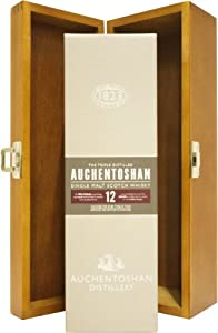 Auchentoshan 12 year old Scotch Whisky with Luxury Hinged Stained Wooden Box by Drinxcom