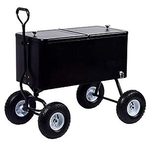 """Edelstahl-Servierwagen """"Fidschi"""" mit Ablagefläche, rollbarer Kühlwagen für Getränke und Speisen, 91 x 48 x 46 cm, 76 Liter"""