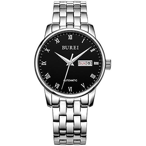 Burei® Herren Tag und Datum Kalender automatische Luxus Wasserdicht Armbanduhr Armbanduhr mit Edelstahl Armband