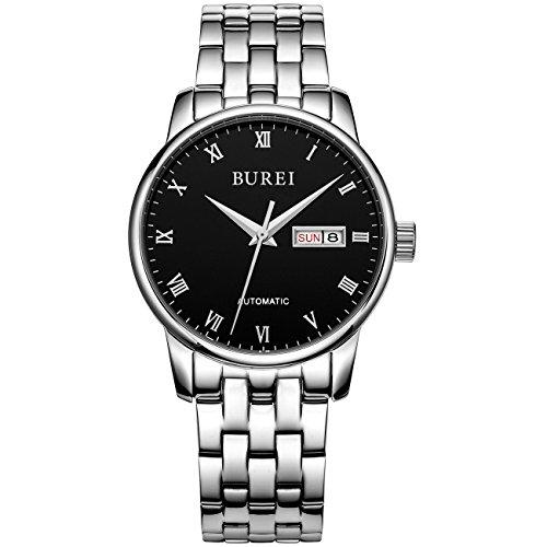 Burei Herren automatische Uhr Tag und Datum Kalender Luxus Design Wasserdicht Armbanduhr mit Silber Edelstahl Armband