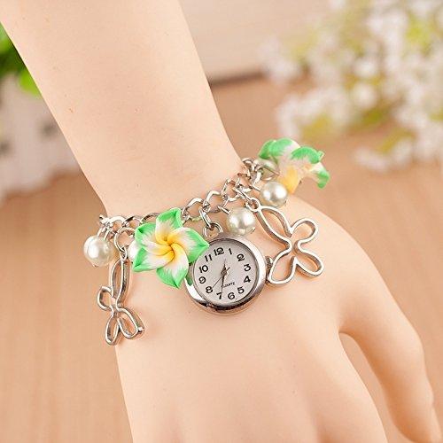 House full of romance 3er Pack Clay Flower Bracelet Gut aussehende Uhr (Colour : Grün) -