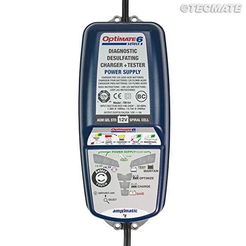 TECMATE Optimate 6 Select TM190, Caricabatterie con Recupero di Batteria, manutentore e Tester 9 Fasi 12 V 5 A