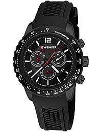 Wenger Unisex-Armbanduhr 01.0853.109 ROADSTER BLACK NIGHT CHRONO Analog Quarz Kautschuk 01.0853.109 ROADSTER BLACK NIGHT CHRONO