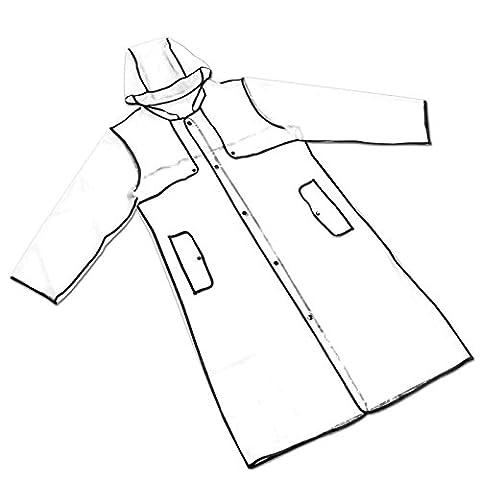 Manteau imperméable à la pluie, imperméable EVAPVC Veste Transparent Femme Fille Passepoil noir Design À la Mode Sport Sytle