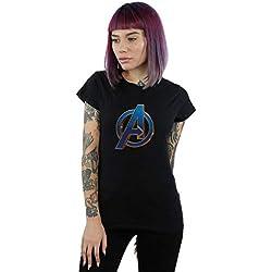 Marvel Mujer Avengers Endgame Heroic Logo Camiseta Negro Medium