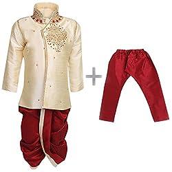 AJ Dezines Kids Indo Western Kurta Pyjamas Dhoti Pant Set for Boys (1905_GOLD_5)