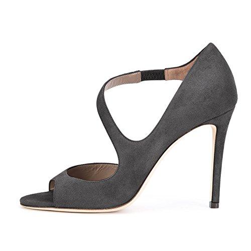 bc056821ed5e Damen Peep Toe Sandalen D Orsay Pumps Samt Stiletto High-Heels Grau ...