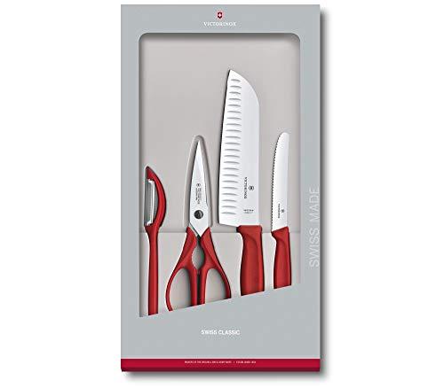 Victorinox - Set da Cucina 4 Pezzi Swiss Classic con Manico Rosso - Coltelli Forbici Pela Verdure