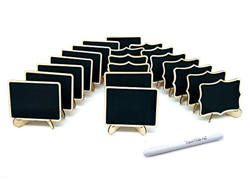 20Stck Kreidetafel Memotafel Tischtafel Notiztafel Klein Tafel zum Schreiben als Speisekarte Tischaufsteller Tischdeko für Hochzeit Gastronomie Party Feier (Holz)