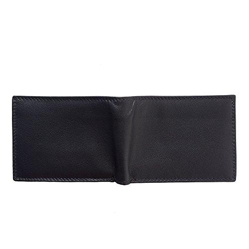 Mini-Portemonnaie aus Kalbsleder SOFT LEDER ohne Münzprüfer Tasche für MAN (PF111) (Licht braun) Schwarz