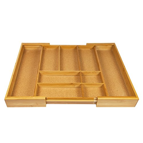 Woodluv Expandable Natural Cork Lined 7-9 Compartments Bamboo Kitchen Cutlery Drawer Utensil Hobby Organizer Divider Tray