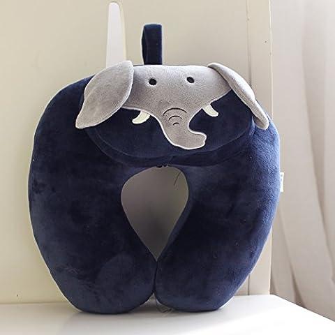 AmarsaD U-Förmige Kissen Bezug Hals Gesundheit Flugreisen Mittagsschlaf, Tragbare Lau Lau-U-Kissen Navy Blue Elephant