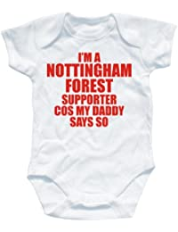 NAUGHTEES clothing - I'm a Nottingham forest supporter cos my Daddy says so babygrow onesie