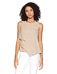 Van Heusen Womens Plain Regular Fit Shirt (8907670795538_VWTS317D009702_Beige_Large)