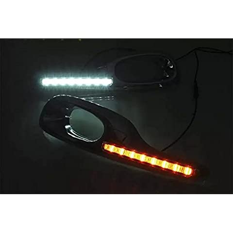 SMK al por mayor LED DRL luz diurna luz de conducción para Honda 2011 – 13 Fit Jazz Hybrid Super brillante Top calidad con amarillo señales de giro