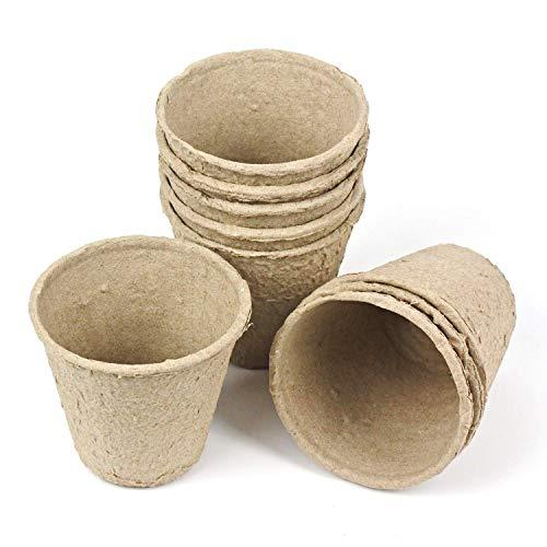 skycabin 8 cm Fibre Pots biodégradables Fibre semis Pots Ronds pour Jardin Plantation Value Lot DE 96