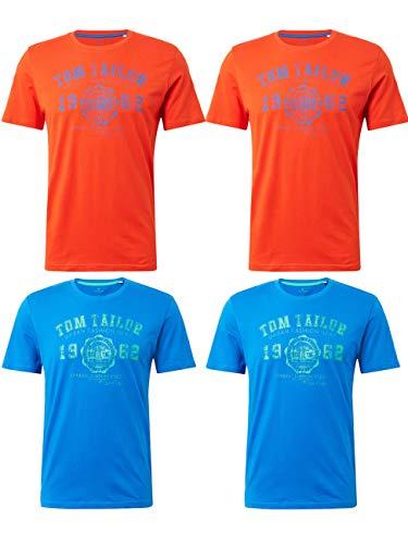 TOM TAILOR 4er Pack Herren Rundhals T-Shirt Logo Tee Basic, Größe:M, Farbe:2X Basic Red 2X Simply Blue - Farbe Logo-t-shirt