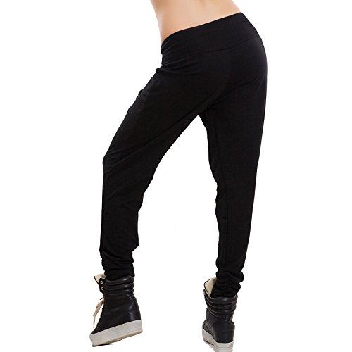 Toocool - Pantaloni donna harem cavallo basso portafoglio fitness casual nuovi AS-1720 Nero