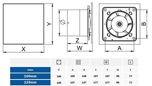 Extracteur d'air de ventilateur de mur de 100 mm avec fenêtre en acier inoxydable