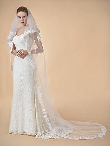Remedios 2 Schichten Kathedralelange Brautschleier Hochzeit Schleier Spitze Gestickt Kante 102 inch in Elfenbein