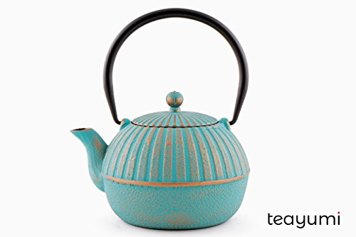 teayumi - Gusseisen Teekanne Yini 0,9 Liter, türkis auf Gold Gold Teekanne
