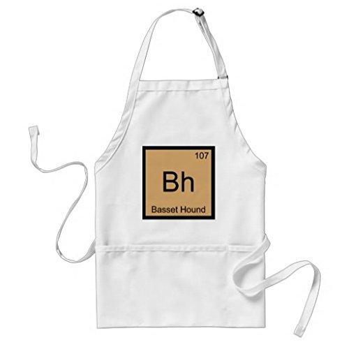 Tablier de cuisine pour femme BH basset chimie Element Symbole Chien Motif tabliers pour filles cou réglable Attaches de tour de taille Tablier de cuisine pour homme