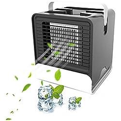 3 en 1 Mini Climatiseur Humidificateur Purificateur - Mini Climatiseur Portable Mini Ventilateur USB - Rafraichisseur d'air pour Maison /Bureau/Camping - 7 sortes Filter Paper - Purifier l'air Noir