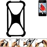 K-S-Trade Handyhülle für Allview V2 Viper i4G Schutz Hülle Silikon Bumper Cover Case Silikoncase TPU Softcase Schutzhülle Smartphone Stoßschutz, schwarz (1x)