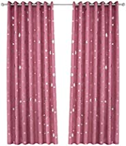 Vosarea Blackout Window Curtain Stars Moon Thermal Insulated Noise Reducing Grommet Top Window Treatment for G