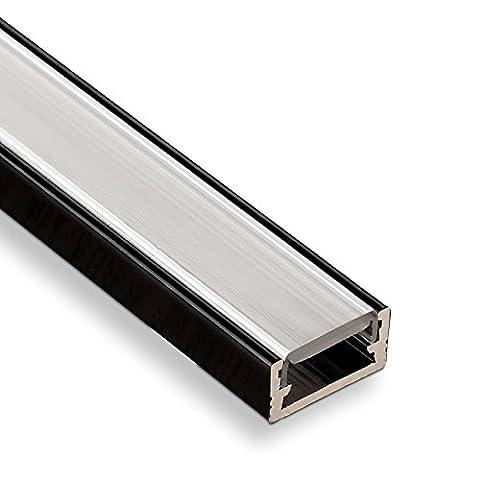 5 Stück SO-TECH® LED Profil-11 Schwarz Aufbauprofil 2000 x 14 x 7 mm mit opaler Abdeckung