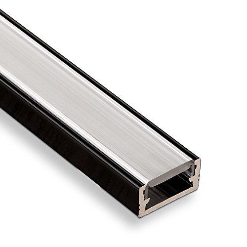 Folie Im Schwarzen Bereich (SO-TECH® LED Profil-11 Schwarz Aufbauprofil 2000 x 14 x 7 mm mit opaler Abdeckung)
