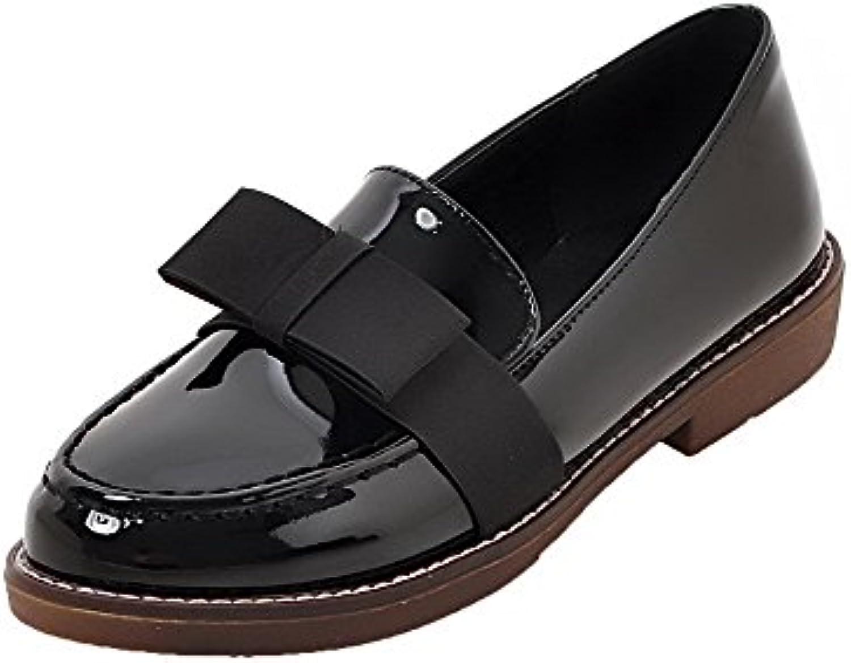 AalarDom Mujeres Puntera Redonda PU Tacón Bajo Slip-On Zapatos de Tacón