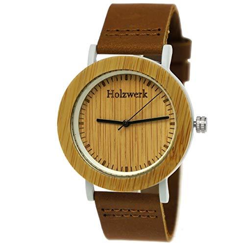 Handgefertigte Holzwerk Germany® Designer Damen-Uhr Öko Natur Holz-Uhr Armband-Uhr Analog Klassisch Quarz-Uhr Braun Weiß mit Leder Armband