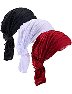 Ever Fairy® confezione da 3colori turbante per chemioterapia, sciarpa etnica con stampa,berretto da donna con...