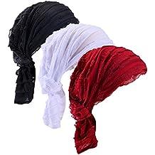 Ever Fairy Lot de 3 foulards chimio de couleurs différentes en tissu  imprimé ... 9620103e837