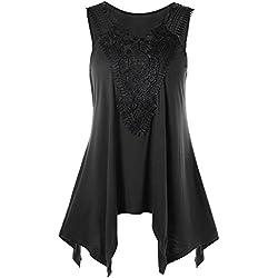 OSYARD Damen Ärmelloses, Unregelmäßiges T-Shirt Plus Size V-Ausschnitt Spitzenbesatz Tank Top T-Shirt(EU 44/XL, Black)