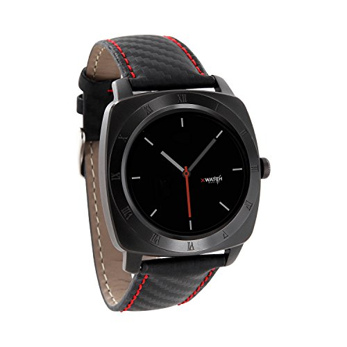 X-WATCH Nara XW Pro Black Chrome Carbon Red Black - Smartwatch Android und iPhone Kompatibel