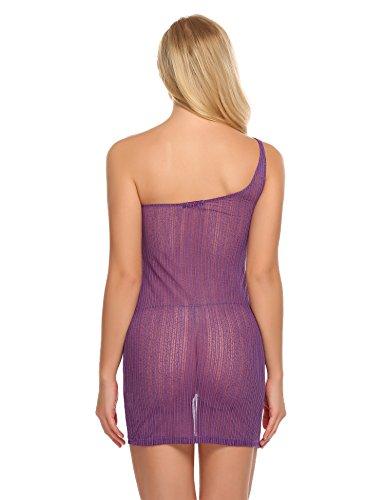Avidlove Damen Sexy Transparentes Netzkleid Schulterfrei Negligé Reizwäsche Minikleid aus Spitze Unterkleid Unterwäsche Violett